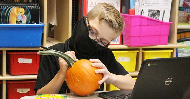 Student decorates pumpkin