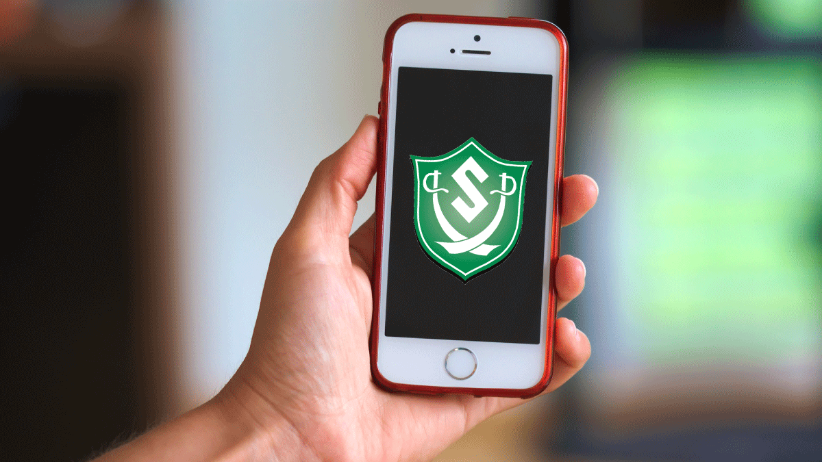 Smartphone with Schalmont CSD shield logo