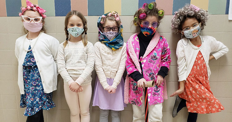 Students dress up as 100-year-olds