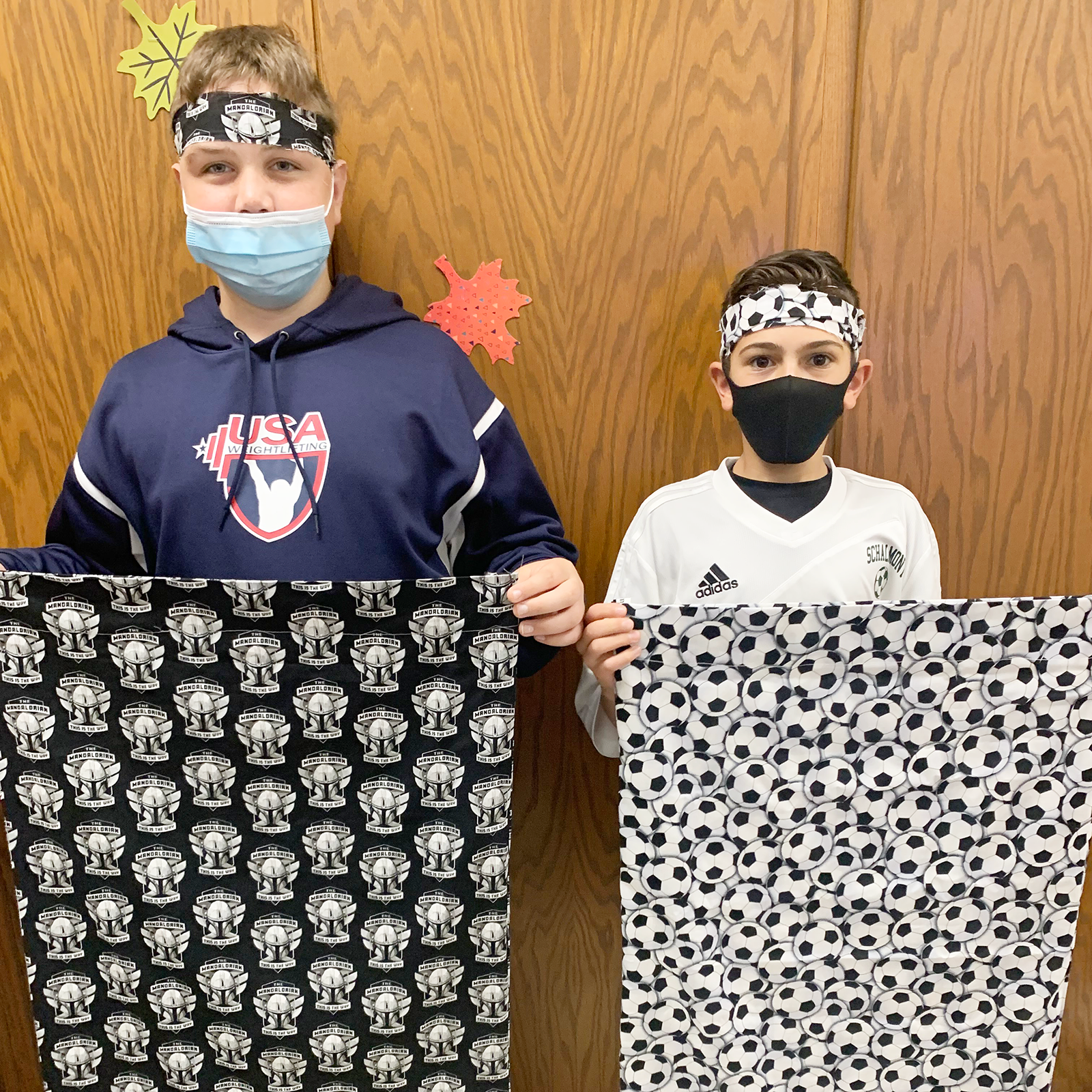 Students with pillowcase they made